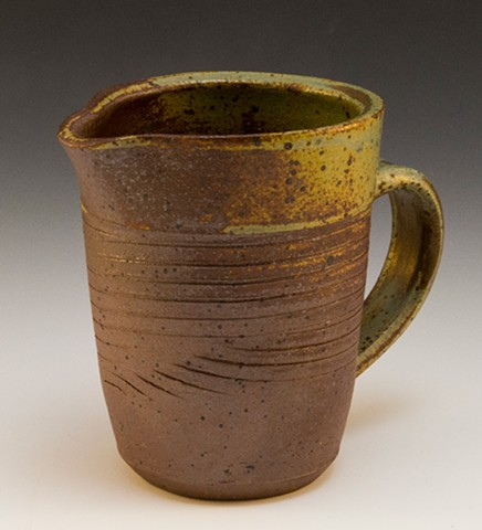 Ceramic Pitcher Stoneware Green Glaze