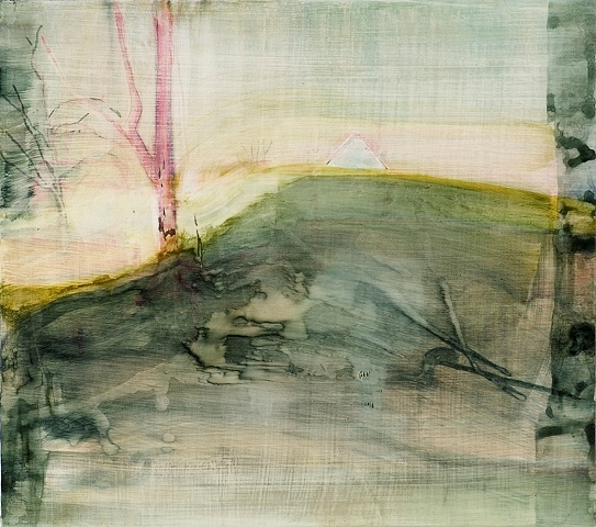 painting of house submerged in landscape; dreamy and surreal by Sarah Nesbit