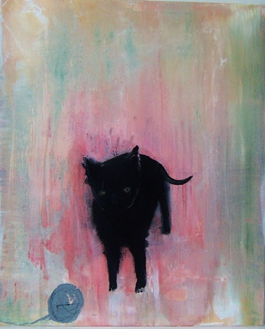 Painting of black cat by Sarah Nesbit
