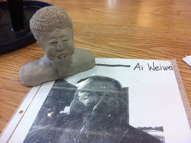 Student, Grade 8, Clay Sculpted bust of artist Ai Weiwei