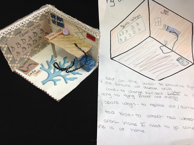 Student, Grade 6, Interior Design from sketch to 3D model with repurposed material