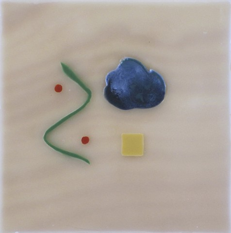 "SYMBOLS THAT BELONG ON THE ALTAR OF A FUTURE SPIRITUAL ONTOLOGY 6 ¾"" x 6 ½"" encaustic on pine"