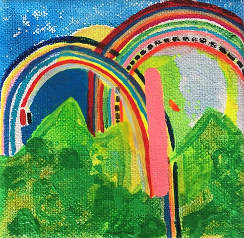 "Double Rainbow   4"" x 4"" Acrylic on Canvas 2016"