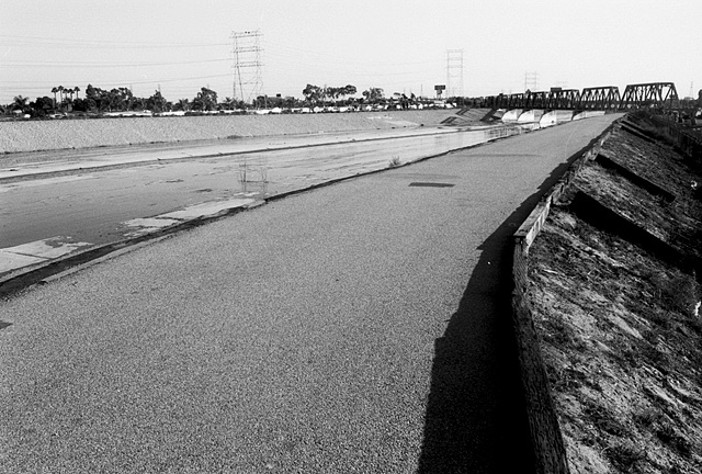 LA River, Service Road & Train Bridge