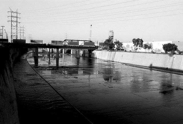 LA River, Train Bridge & Warehouse, South Central Los Angeles, 1998