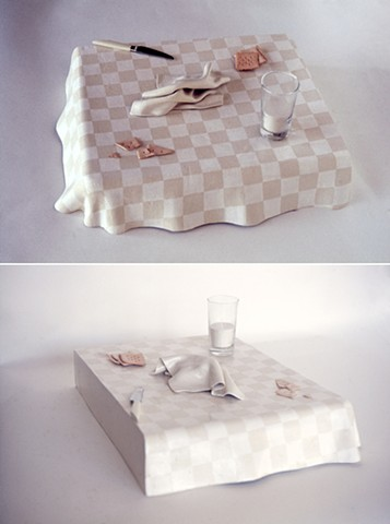 White Checkered Tablecloth