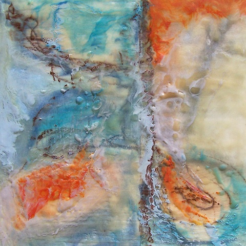 Abstract, encaustic and pigment on board.