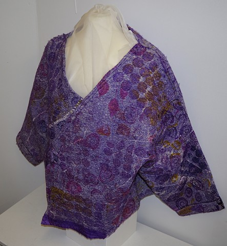 Stunning Nuno Felt Jacket with screen print silk by Chrissie Day