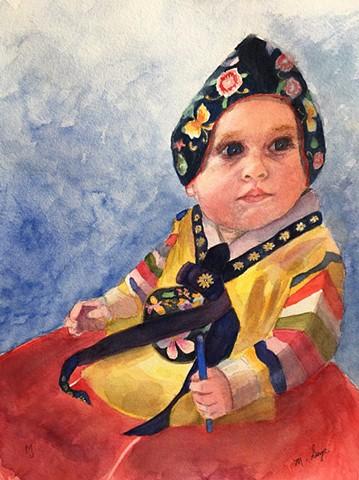 Little girl wearing Korean dress