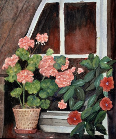 Geraniums and Periwinkles in a Box