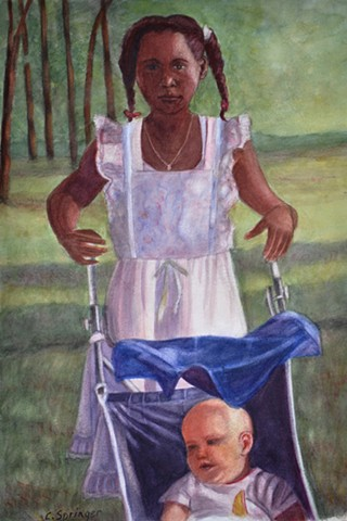 black girl, white baby, wedding, stroller