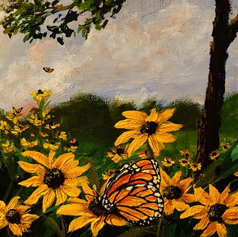 Blackeyed Susans with Butterflies