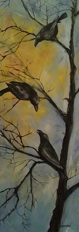 crow, black bird, magpie, gossip, tree, branch, sun, fall, caw
