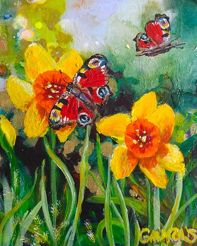 Peacock butterfly, daffodil, gammons, spring, england