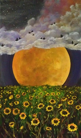blackbirds, seed, moon, cloud, sunflower, ripen, eat,