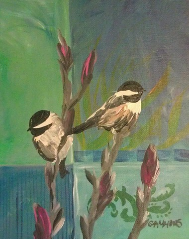 chickadees, abstract, blue, floral, impressionistic