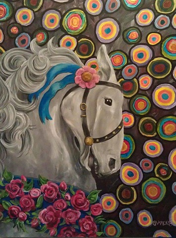 #lauragammonsstudios laura gammons @lauragammons #camplaura #lauragammons laura gammons lauragammons.com #lauragammonsstudios, carousel horse, carnival lights, surreal, freedom, breaking free, coming to life, becoming real, self discovery, freedom