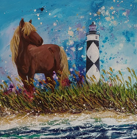 shackleford Banks, NC, Carolina, carteret county, island, ocean, pony, wild, lighthouse, lookout