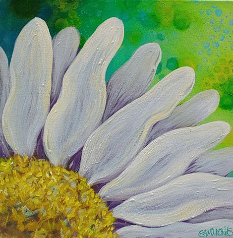 daisy, pop art, closeup, flower, green, yellow, blue