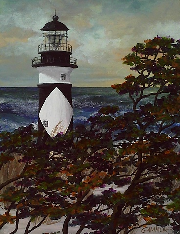 lighthouse, cape lookout, dines, sea, ocean, oak, forest