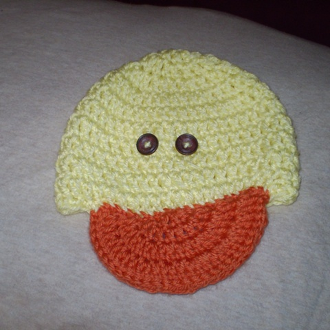 hand crocheted ducky baby hat by ashley seaman