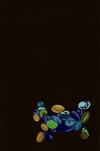 fishbowl marbles gouache painting