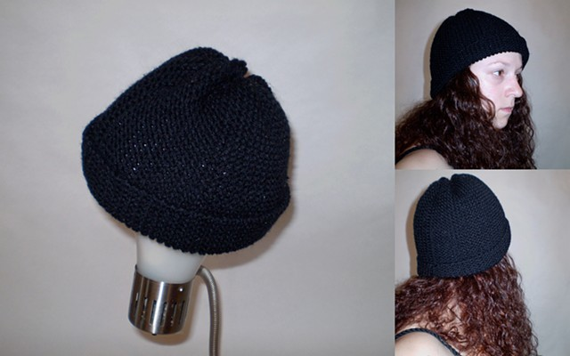 hand-knit cap with brim by ashley seaman