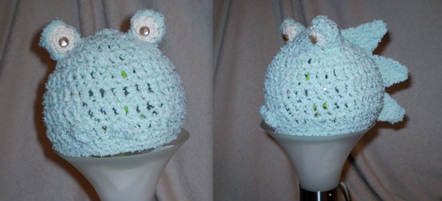 hand-crocheted monster baby hat