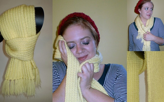 hand-knit scarf with tassels by ashley seaman