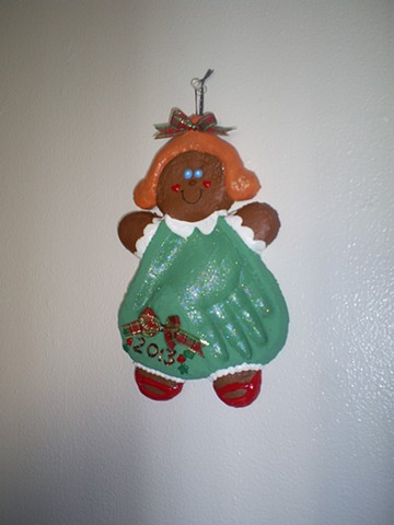 handmade salt dough impression gingerbread girl ornament