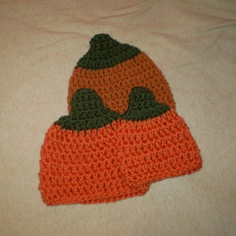 hand-crocheted pumpkin baby hat by ashley seaman