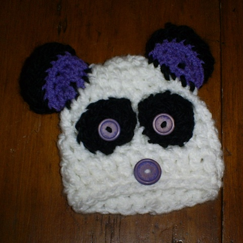 hand crocheted panda bear baby hat by ashley seaman