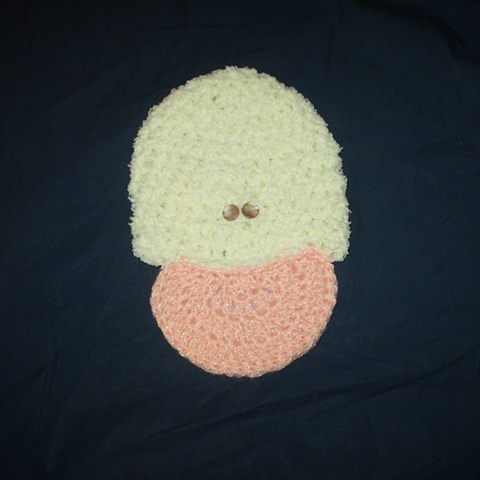 hand-crocheted duck baby hat
