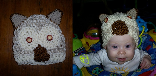 hand crocheted hooty owl baby hat by ashley seaman