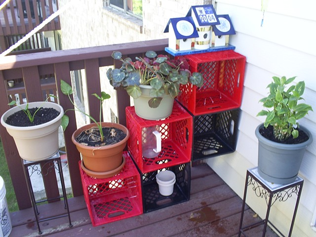 Milk Crate Plant Shelf