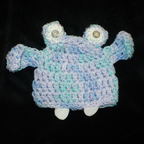 hand-crocheted hippo baby hat