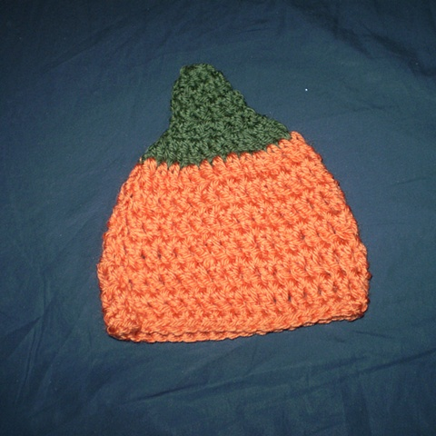 hand-crocheted pumpkin hat