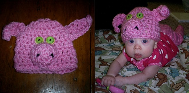 hand crocheted piggy baby hat by ashley seaman