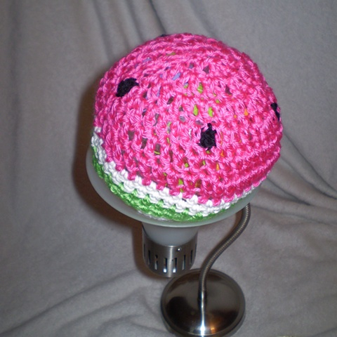 hand crocheted watermelon baby hat by ashley seaman