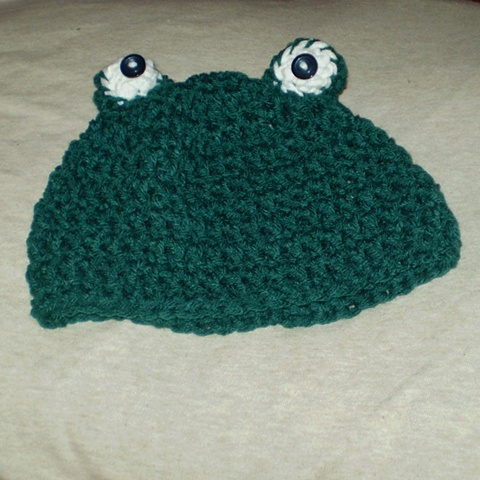 hand-crocheted frog baby hat