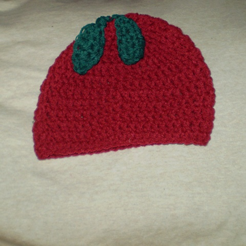 hand-crocheted apple or cherry baby hat