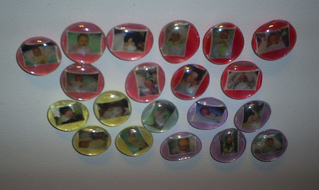 glass marble baby photo magnets by ashley seaman