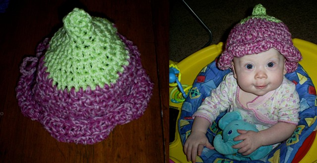 hand-crocheted flower baby hat