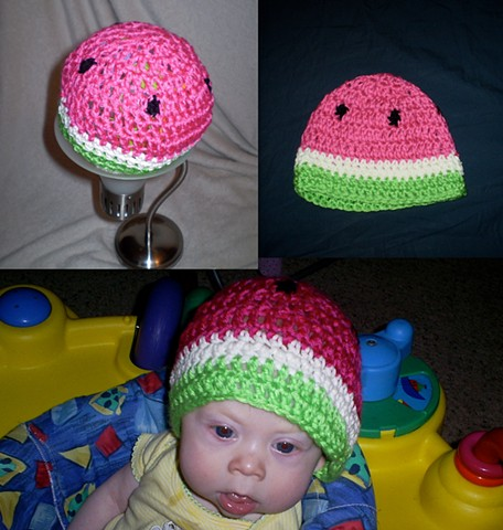 hand-crocheted watermelon crocheted hat