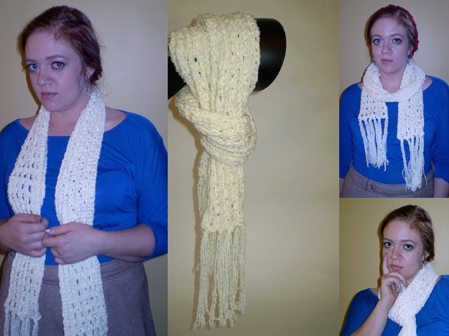 hand-crocheted scarf with tassels by ashley seaman