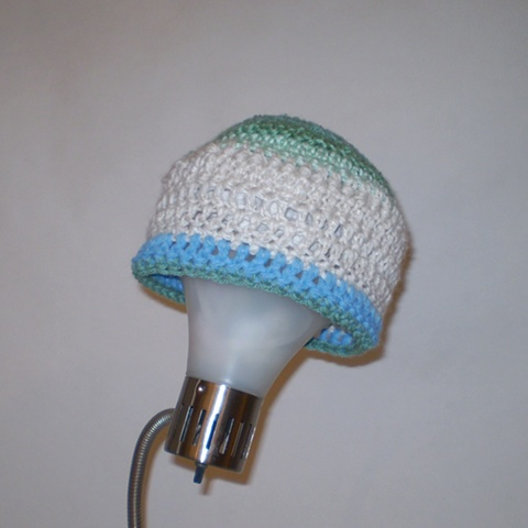 hand-crocheted stripe hat by ashley seaman