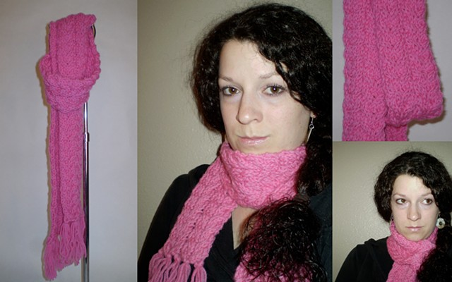 hand-knit cable pattern scarf with tassels by ashley seaman