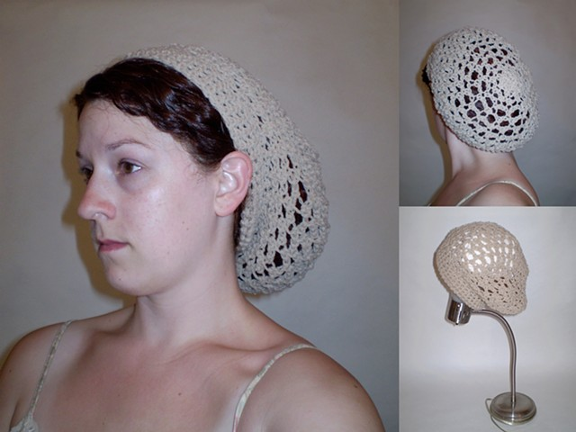 hand-crocheted snood hat by ashley seaman