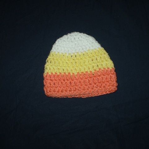 hand-crocheted candy corn baby hat