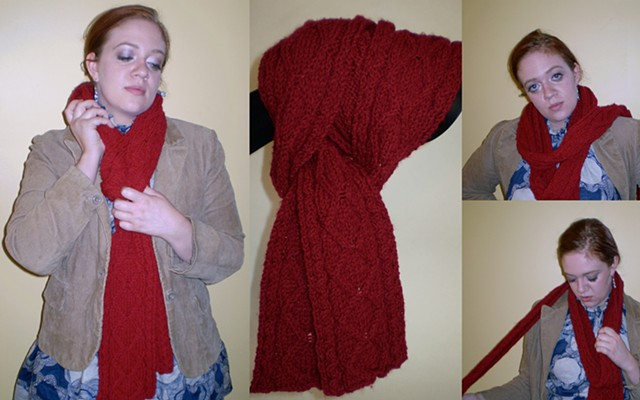 hand-knit cable pattern scarf by ashley seaman